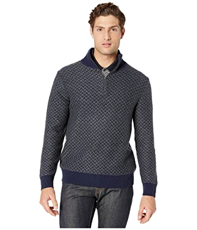 J.Crew Merino Wool Herringbone Jacquard Half-Zip Sweater (Herringbone Navy) Men