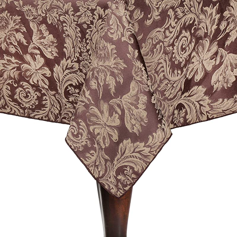 Ultimate Textile Miranda 70 X 144 Inch Rectangular Damask Tablecloth Chocolate Brown