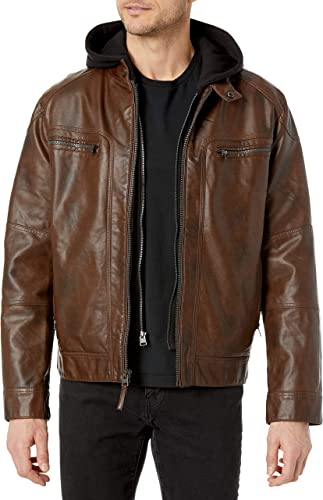 Calvin Klein Men's Faux Lamb Leather Moto Jacket with Removable Hood and Bib