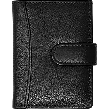 RAS Men Women Soft Genuine Leather Credit Card Holder Wallet with A Banknote Compartment 601 Black