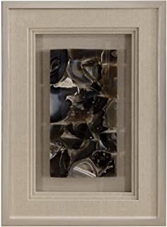 My Swanky Home Luxe Natural Agate Slab Stone Mosaic Wall Art | Shadow Box Tan Blue Silver Frame