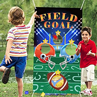 WATINC Football Toss Games with 3 Bean Bags, Carnival Birthday Party Fun Game for Kids and Adults, Football Banner for Sports Theme Party Decoration, Outdoor Yard Favors Supplies, All Ages Activity