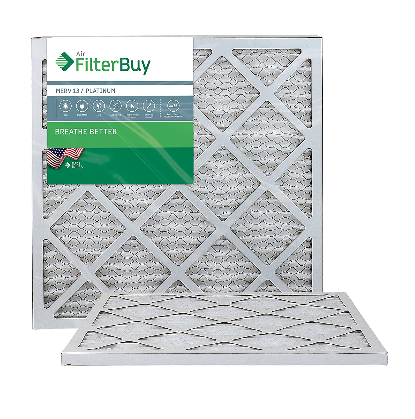 FilterBuy 22x22x1 MERV 13 Pleated AC Furnace Air Filter, (Pack of 2 Filters), 22x22x1 – Platinum