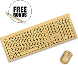 TrioGato's Standard Size Bamboo Wireless Keyboard and Mouse. Eco Friendly, Handcrafted, Standard Size Design + Bonus