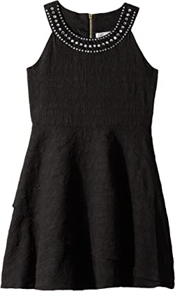 Us Angels Sleeveless Ringer Dress w/ Jewels on Neckline (Big Kids)
