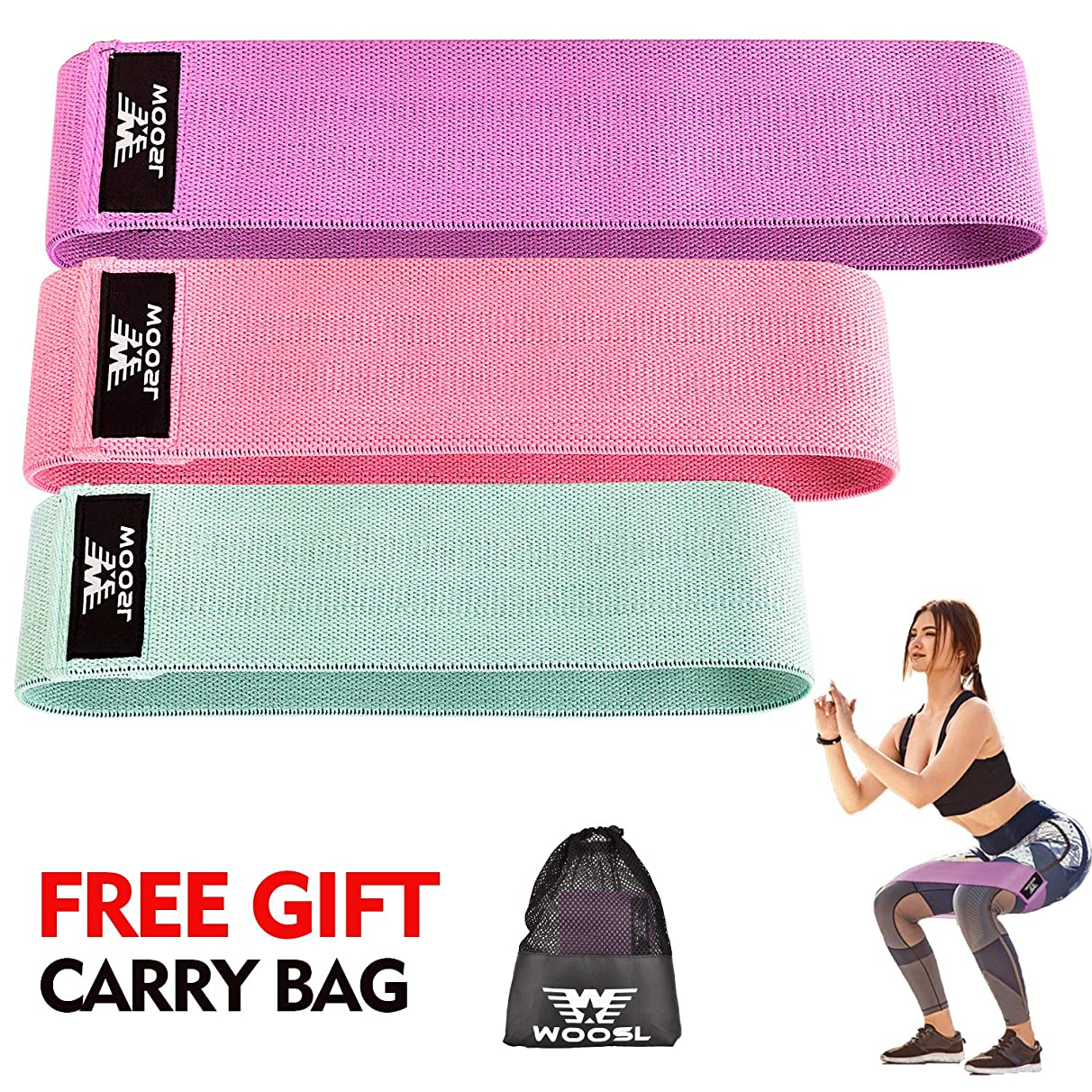 WOOSL Booty Bands - Fabric Resistance Bands for Leg and Butt,Exercise Bands Hip Bands Wide Workout Bands Hip Resistance Bands Anti Slip Circle Fitness Band Elastic Sports Bands