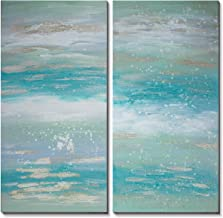 3Hdeko - Abstract Coastal Canvas Wall Art Turquoise Blue Ocean Picture for Living Room Bedroom Home Decoration, Large 2 Pieces Hand Painted Teal Gold Oil Painting, Ready to Hang (20x40inchx2pcs)