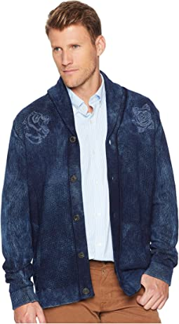 Embroidered Shawl Cardigan Sweater