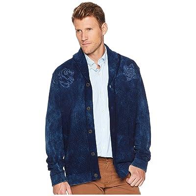 Lucky Brand Embroidered Shawl Cardigan Sweater (Indigo) Men