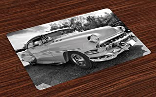 Lunarable Vintage Place Mats Set of 4, 50s 60s Retro Classic Pin up Style Cars in Hollywood Movies Image Artwork, Washable Fabric Placemats for Dining Room Kitchen Table Decor, White and Black