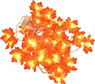 Karlling 3 Pack Thanksgiving Decorations Lighted Fall Garland Maple Leaves String Lights,Battery Operated Thanksgiving Dec...