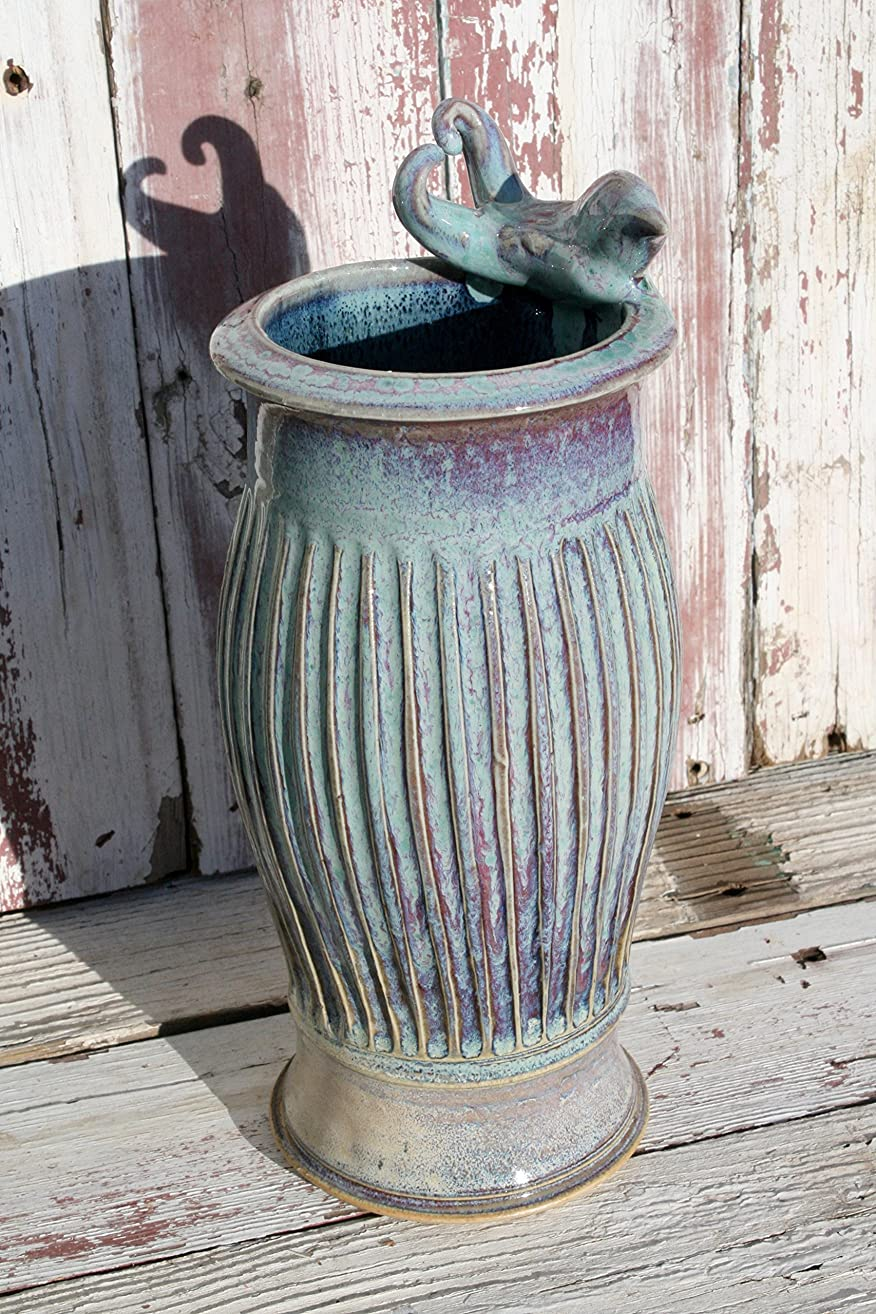 Ceramic Green Vase with Bird #18, Sea Foam Green Textured Pottery Vase, Utensil Holder