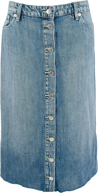 Women's Denim Midi A-Line Skirt