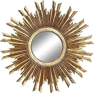 Creative Co-op Round Sunburst Mirror with Gold Finish