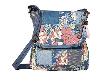 Sakroots Artist Circle Flap Crossbody (Denim Flower Power) Cross Body Handbags