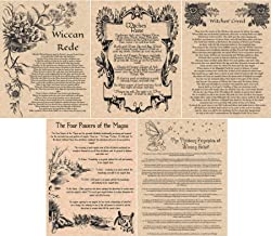 5 Book of Shadows Pages: Wiccan Rede, Witches Creed, Witches Rune, Four Powers of the Magus, 13 Principles of Wiccan Belief (Copper)