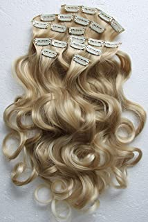 "PRETTYSHOP XXL Set 8 pcs 24"" Clip In Hair Extensions Full Head Hairpiece Wavy Curled Or Straight Heat-Resisting Div. Colors (bleach blonde mix curled #25T613 CES7-1)"