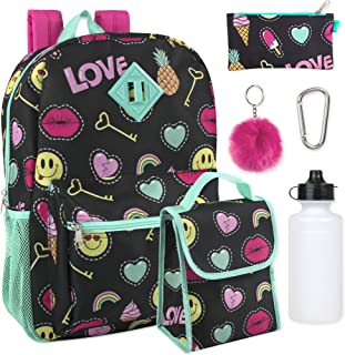 Girl's 6 in 1 Backpack Set With Lunch Bag, Pencil Case, Bottle, Keychain, Clip (Emoji)