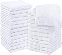 Utopia Towels Cotton White Washcloths Set - Pack of 24 - 100% Ring Spun Cotton, Premium Quality Flannel Face Cloths, Highl...