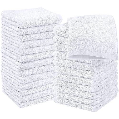 2 dozen white 100/% cotton hotel wash cloths 11x11 washcloth bright white