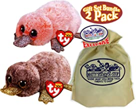 Ty Beanie Boos Sea Creatures Perry (Brown Platypus) & Wilma (Coral Platypus) Gift Set Bundle with Bonus Matty's Toy Stop Storage Bag - 2 Pack