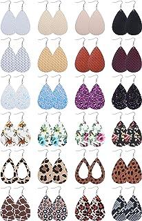 LOLIAS 24 Pairs Leather Earrings for Women Teardrop Leopard Print Drop Earrings Lightweight Dangle Earrings Set