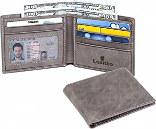 Lositto RFID Blocking Top Grain Leather Wallet for Men-Excellent as Travel Bifold