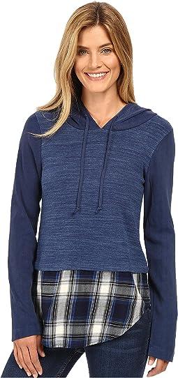 Heavenly Jersey Pullover Hoodie w/ Contrast Flannel Hem