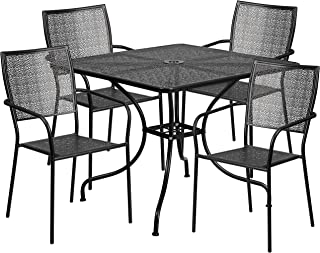 Flash Furniture 35.5'' Square Black Indoor-Outdoor Steel Patio Table Set with 4 Square Back Chairs