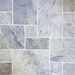 Sample - Travertine Tile Versailles Pattern (Silver) Pool & Patio, Backyard. Brushed and Chiseled Natural Stone for Outdoors & Indoors