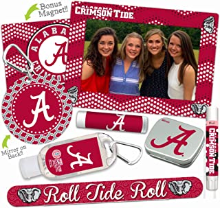 Alabama Crimson Tide Deluxe Variety Set with Nail File, Mint Tin, Mini Mirror, Magnet Frame, Lip Shimmer, Lip Balm, Sanitizer. NCAA Gifts and Gear for Women, Mother's Day