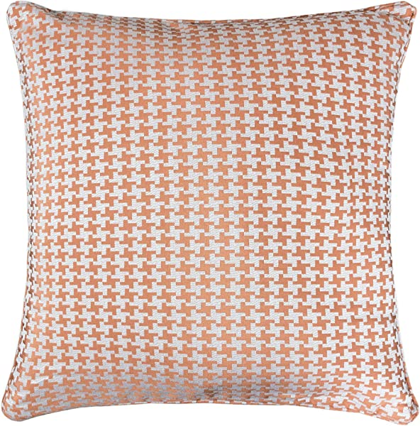 Homey Cozy Jacquard Cotton Throw Pillow Cover Orange Houndstooth Modern Silk Plaid Textured Sofa Couch Decorative Pillow Case 20x20 Cover Only