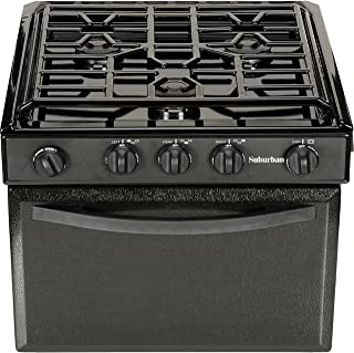 Suburban 17 Inch 3206A Gas Range with Conventional Burners-Black w/Piezo Ignition, 17