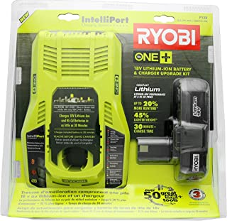 Ryobi P128 Upgrade Kit: Intelliport 18V Lithium Ion Battery Charger (P117) and Single 18V..
