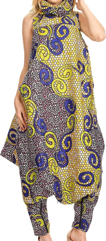 Sakkas Loa Women's African Ankara Print Maxi Harem Jumpsuit Dress Sleeveless