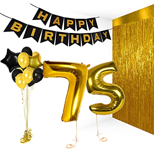 Treasures Gifted Happy 75th Birthday Cake Topper Bday Party Decorations For Him Or Her Gold Balloons