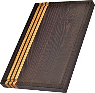 Dark Wood Cutting Board Medium Size: 14x10x0.7 inches | Ergonomic Ash Wood Chopping Boards For Kitchen | The Best Cutting Boards With Juice Groove | Chopping Boards Made From Heat Treated Ash.