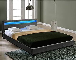 Lit Double Rembourré Design avec Éclairage LED en 6 Couleurs Sommier à Lattes Polyester 140 x 200 cm Gris Foncé