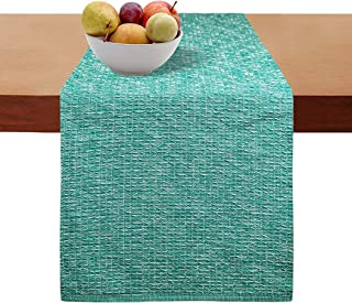 Cotton Clinic Table Runner Farmhouse Tweed 108 Inches, 16x108 Wedding Table Runner, Rustic Bridal Shower Decor Table Runner, Decorative and Elegant Dining Table Runner Teal Green