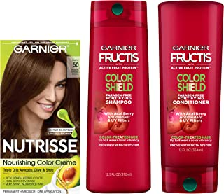 Garnier Nutrisse Hair Color & Fructis Color Shield Regimen Kit, 50 Medium Natural Brown (Truffle), 3 count