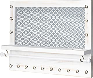 Wall Mounted Jewelry Organizer with Shelf, Bracelet Holder Rod and 16 Antique Brass Hooks - Rustic White Wood Earring and Necklace Hanging Rack - 17 x 12.75 Inch