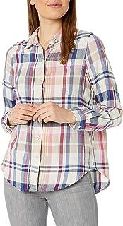 Lucky Brand Womens Classic One Pocket Plaid Shirt Long Sleeve Shirt