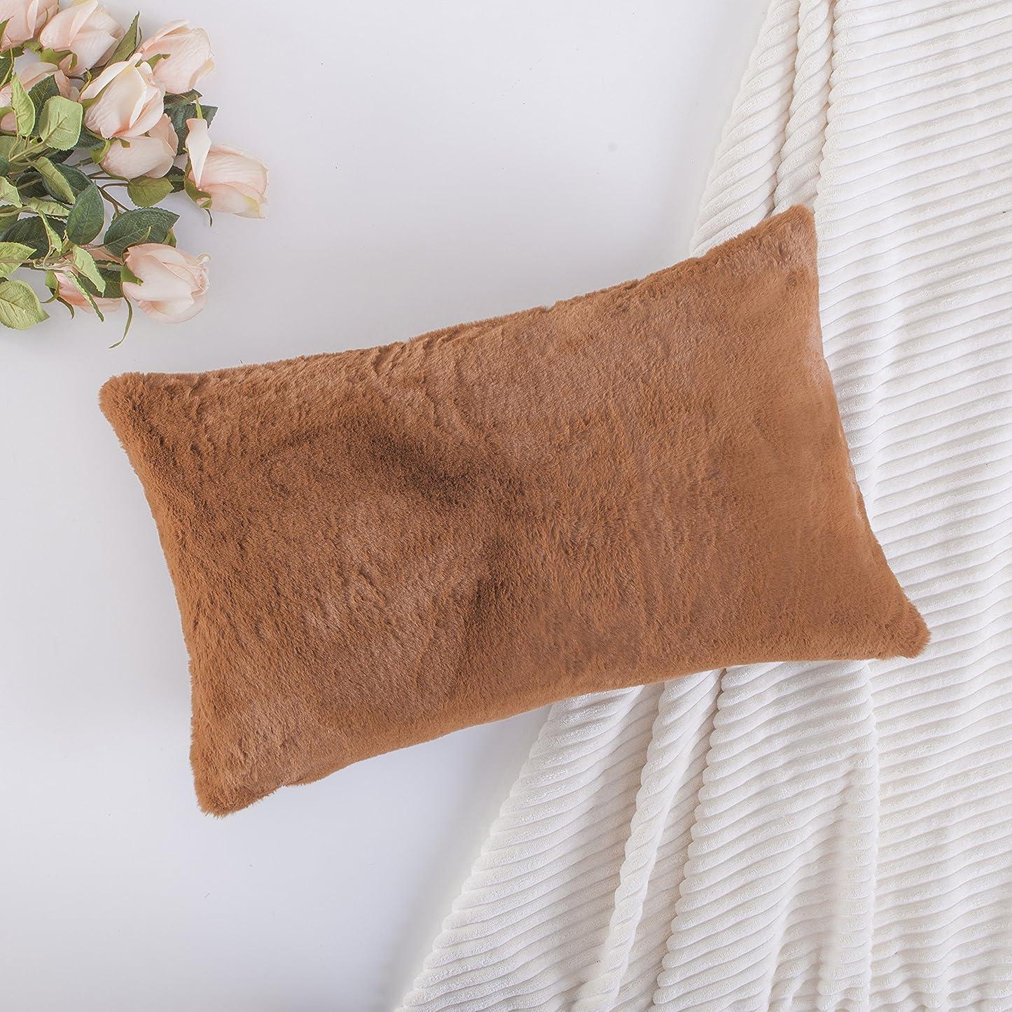 品スープぎこちないHome Brilliant クッション カバー ソファ背当て クッション おしゃれ 暖かい純色 短毛 ふかふか シンプル 雑貨 部屋 ブラウン 30×50cm セット2