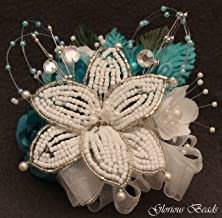 Corsage pin on Turquoise Teal BEADED Lily with roses, beads, and rhinestones. Also sold with matching silk boutonniere. Other colors offered in my Amazon store