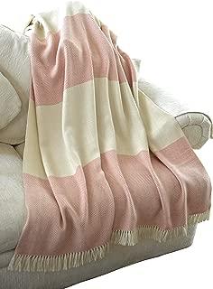 EE Ella Ember 100% Alpaca Wool 2 Color Luxury Blanket Throw - Herringbone Pattern - Ethically Produced - Handmade - Washable (Ivory Coral)