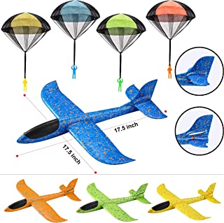 JOYIN 8 Pack 2 in 1 Foam Airplanes and Parachute Toy Combo Set, 2 Flight Mode Glider Planes, Large Throwing Foam Planes an...