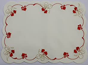 Valentine or wedding Cloth Doily with Red Hearts and White Bows Accented with Gold Thread.