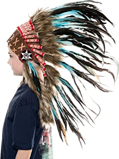 Novum Crafts Kids Feather Headdress   Native American Indian Inspired   Choose Color