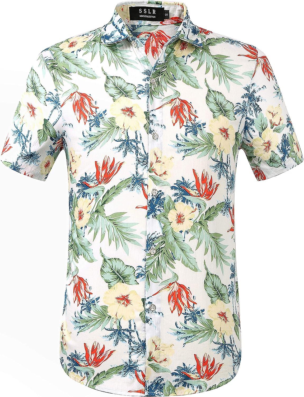 SSLR Men's Casual Button-Down Shirts Short Sleeve Tropical Hawaiian Shirts for Men