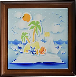 3dRose ft_167258_1 Beach Tropical Book Pop up Art with Sun, Star Fish, Seagulls Framed Tile, 8 by 8